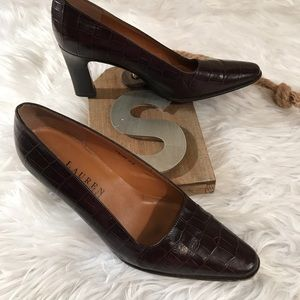 Ralph Lauren 5 1/2 B Brown Moc Croc Pumps